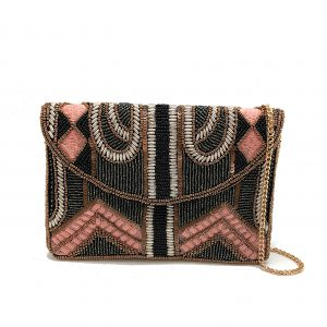 "MINI ""GATSBY"" CLUTCH WITH PINK EMBROIDERY AND METALLIC BEADING"