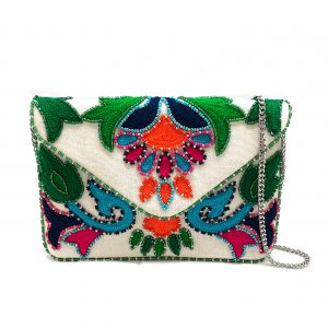 MINI ENVELOPE CLUTCH WITH CHAIN STITCH EMBROIDERY AND MULTI COLOR BEADING