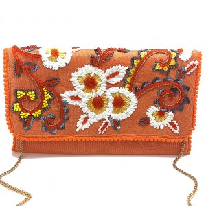ORANGE CLUTCH WITH FLORAL RAFFIA EMBROIDERY AND ORANGE BEADING