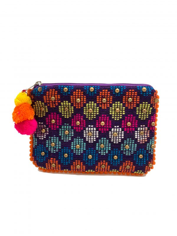MULTI COLOR STUDDED POUCH