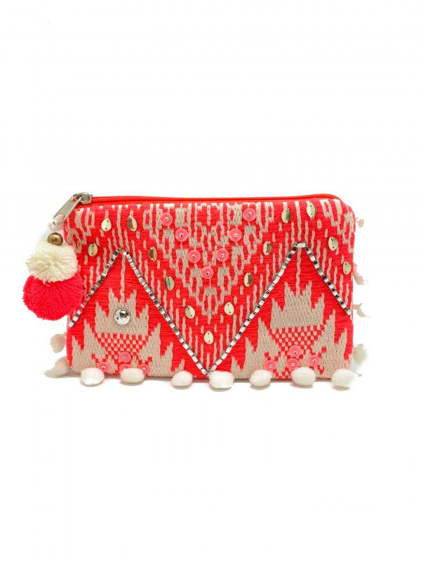 NEON AND WHITE COIN PURSE WITH POMPOMS AND TASSEL ZIPPER