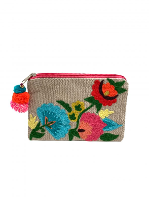 BLOOMING FLOWERS NATURAL COLOR POUCH