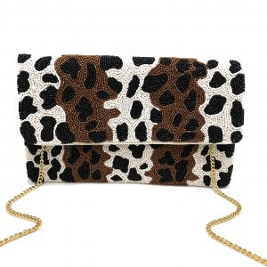 BEADED CHEETAH PRINT CLUTCH