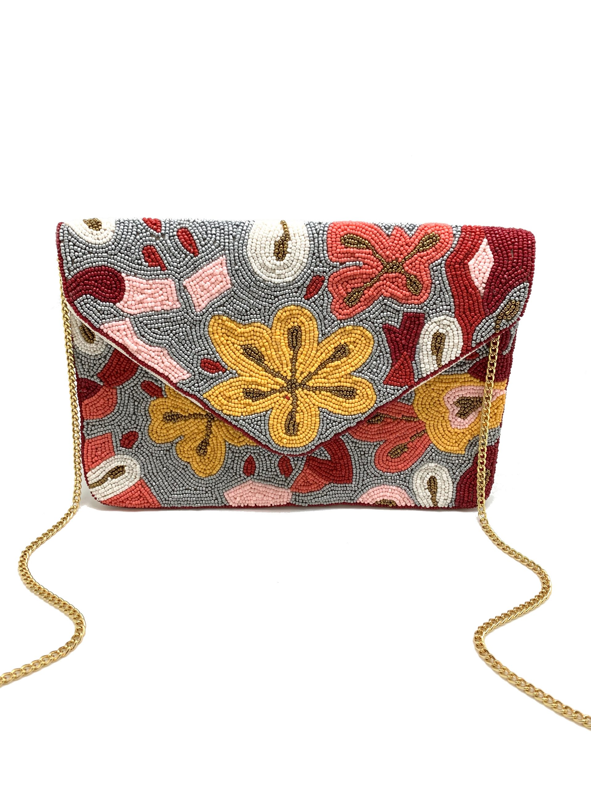 BEADED MULTI FLORAL CLUTCH