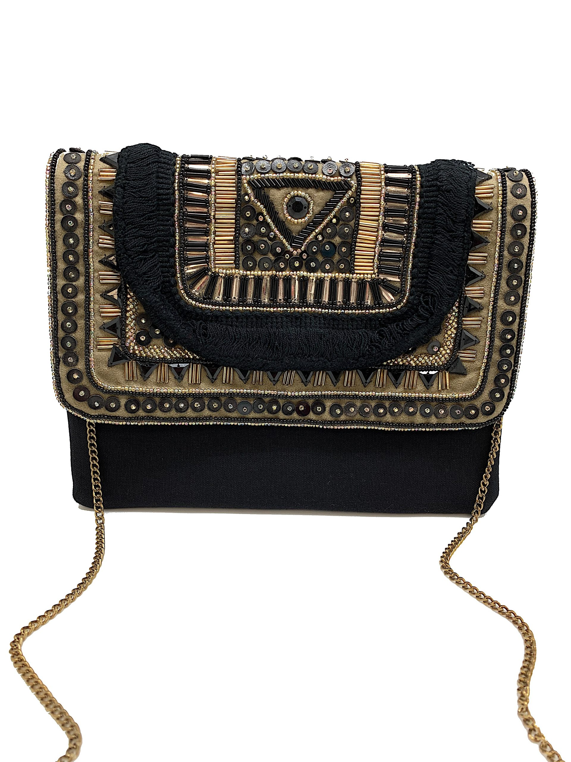 BLACK BOHO BAG WITH GOLD ACCENTS