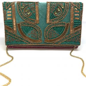 GREEN VELVET EMBROIDERED CLUTCH