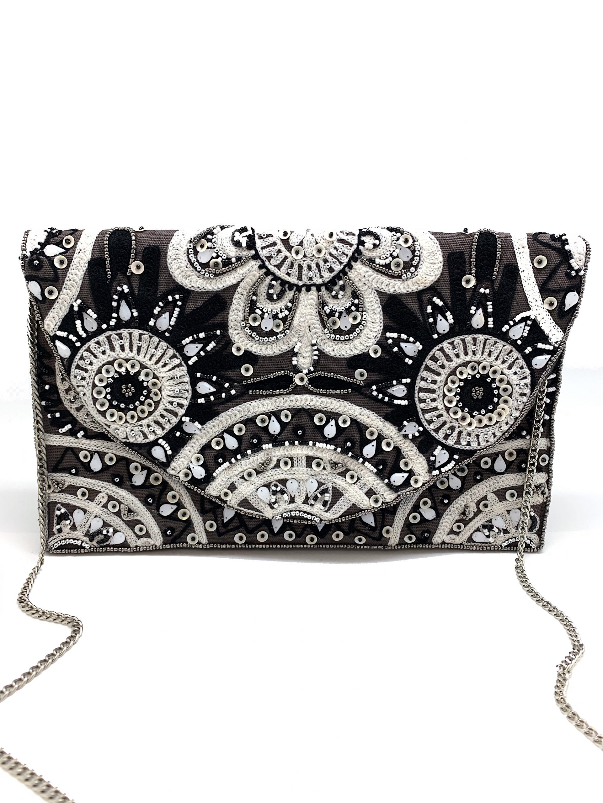 BLACK AND WHITE EMBROIDERED CLUTCH