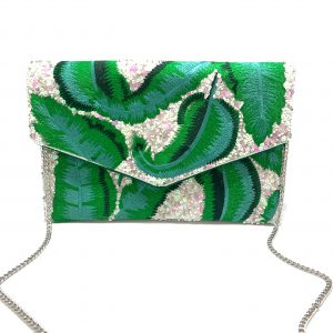 PALM LEAF EMBROIDERED BAG
