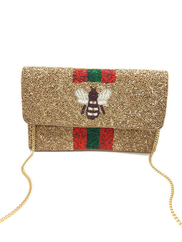 BEE YOU GOLD BEADED BAG WITH RED AND GREEN STRIPES