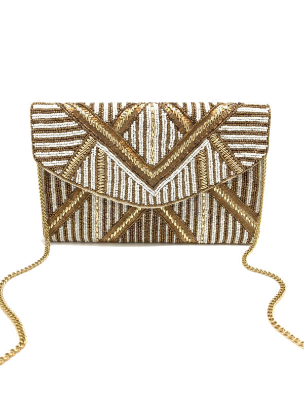 GOLD AND WHITE STRIPED BEADED CLUTCH