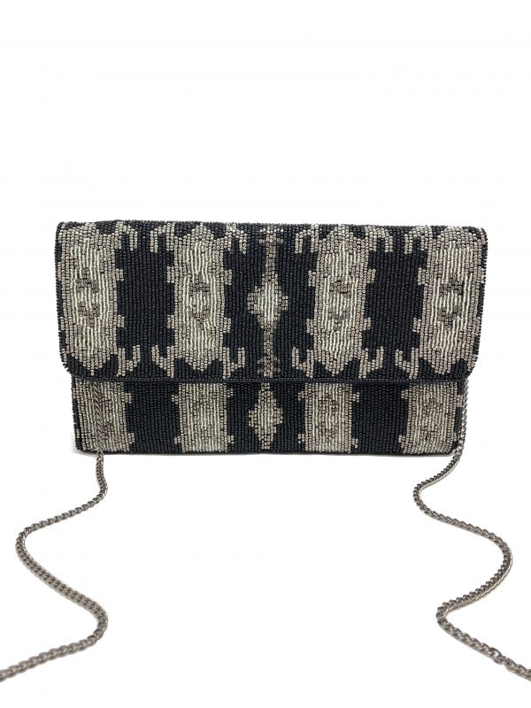 BLACK AND SILVER GREY IKAT PRINT BEADED CLUTCH