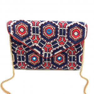 RED AND BLUE GEOMETRIC PATTERNED EMBROIDERED BAG