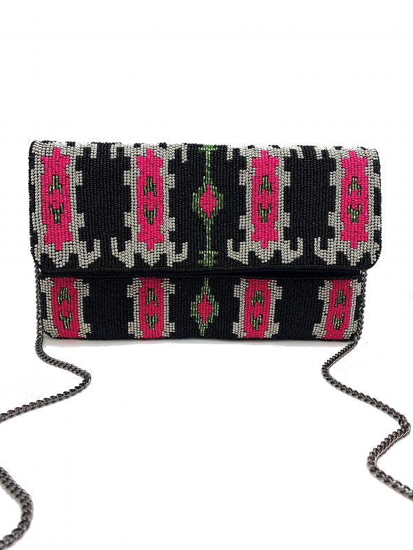 BLACK AND FUCHSIA IKAT PRINT BEADED CLUTCH