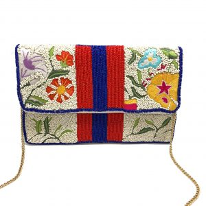 MULTI FLORAL EMBROIDERED CLUTCH WITH RED BLUE STRIPE