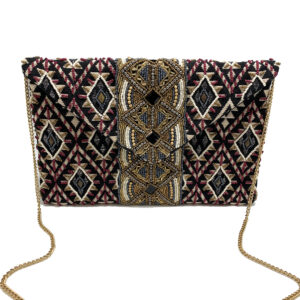JACQUARD CLUTCH WITH BEADED PANEL