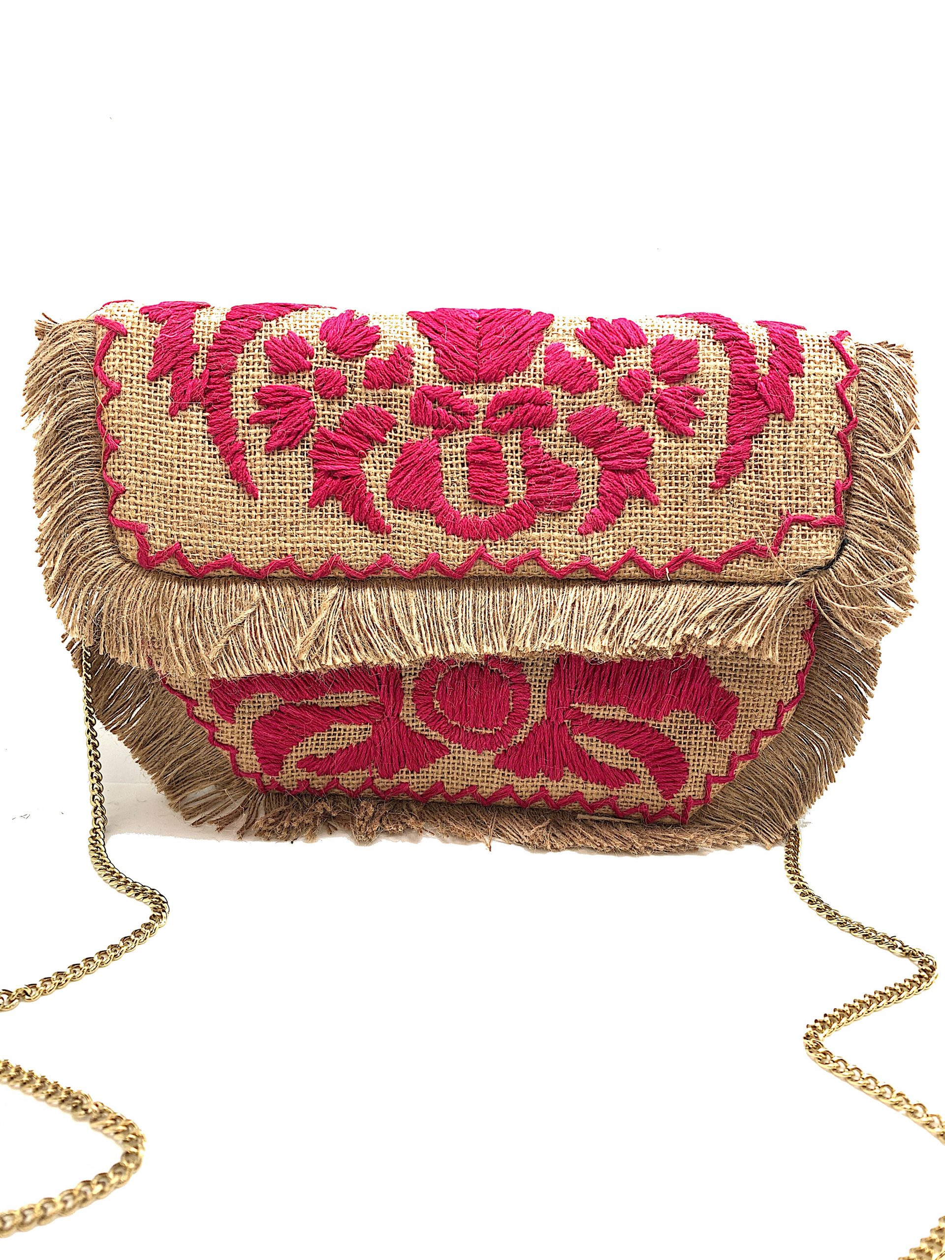 FUCHSIA EMBROIDERED BURLAP CLUTCH