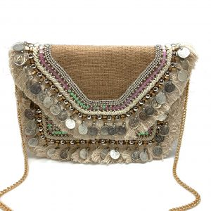 NATURAL COLOR BURLAP BAG WITH COINS