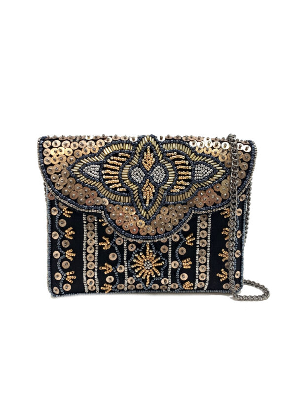 EMBELLISHED GOLD AND BLACK MINI CLUTCH