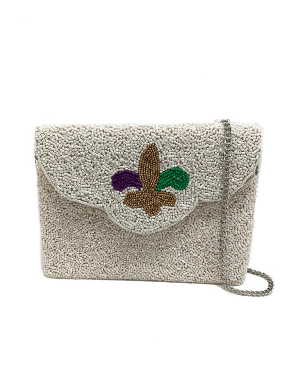 FLEUR DE LIS BEADED BAG IN MARDI GRAS COLORS