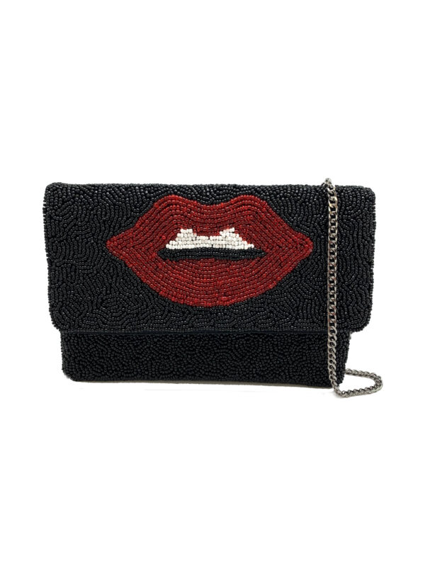 BLACK BEADED MINI CLUTCH WITH LIPS