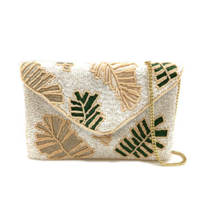 PALM LEAF EMBROIDERED MINI CLUTCH