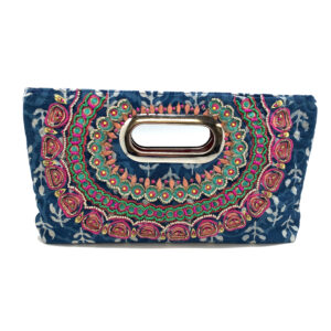 MULTI COLORED BATIK EMBROIDERED CLUTCH WITH HANDLE