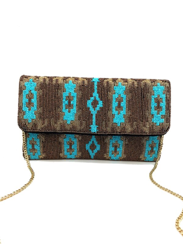 GOLD AND TURQUOISE IKAT PRINT BEADED CLUTCH