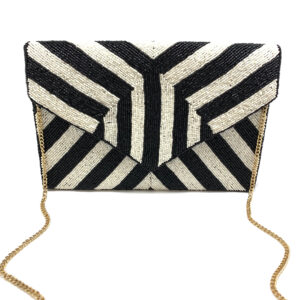 BLACK AND WHITE STRIPE BEADED CLUTCH