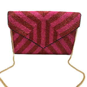 FUCHSIA AND RED STRIPE BEADED CLUTCH