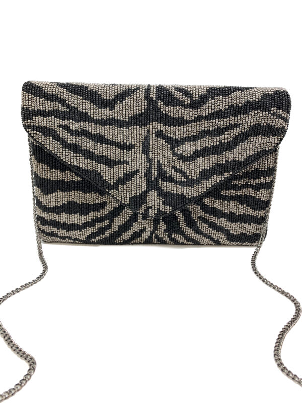 ZEBRA PRINT BEADED CLUTCH