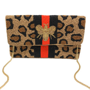 BEADED LEOPARD BEE BAG WITH RED/ BLACK STRIPES