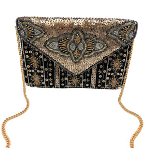 GOLD SEQUINS EMBELLISHED CLUTCH