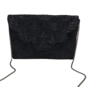 BLACK BEADED CLUTCH WITH SCALLOPED FLAP