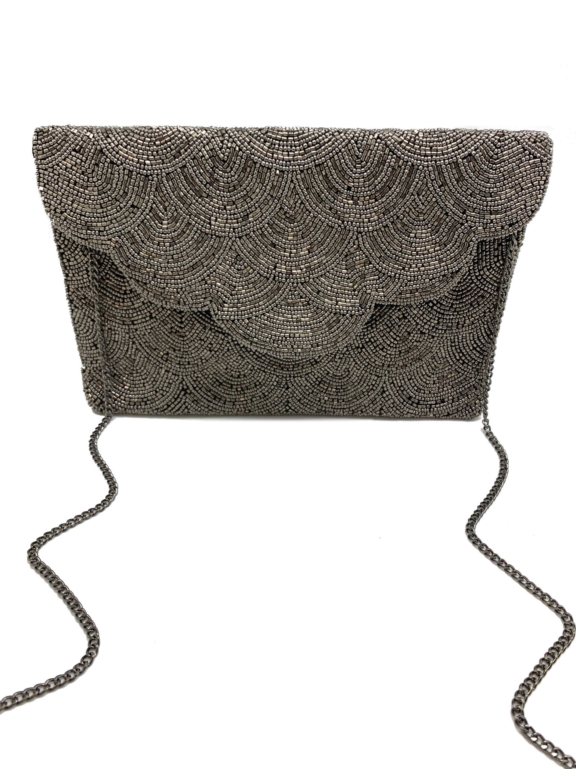 SCALLOPED HEMATITE BEADED CLUTCH