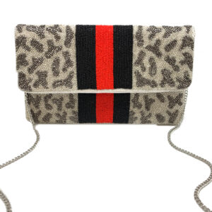 SILVER GREY LEOPARD CLUTCH WITH RED/BLACK STRIPES