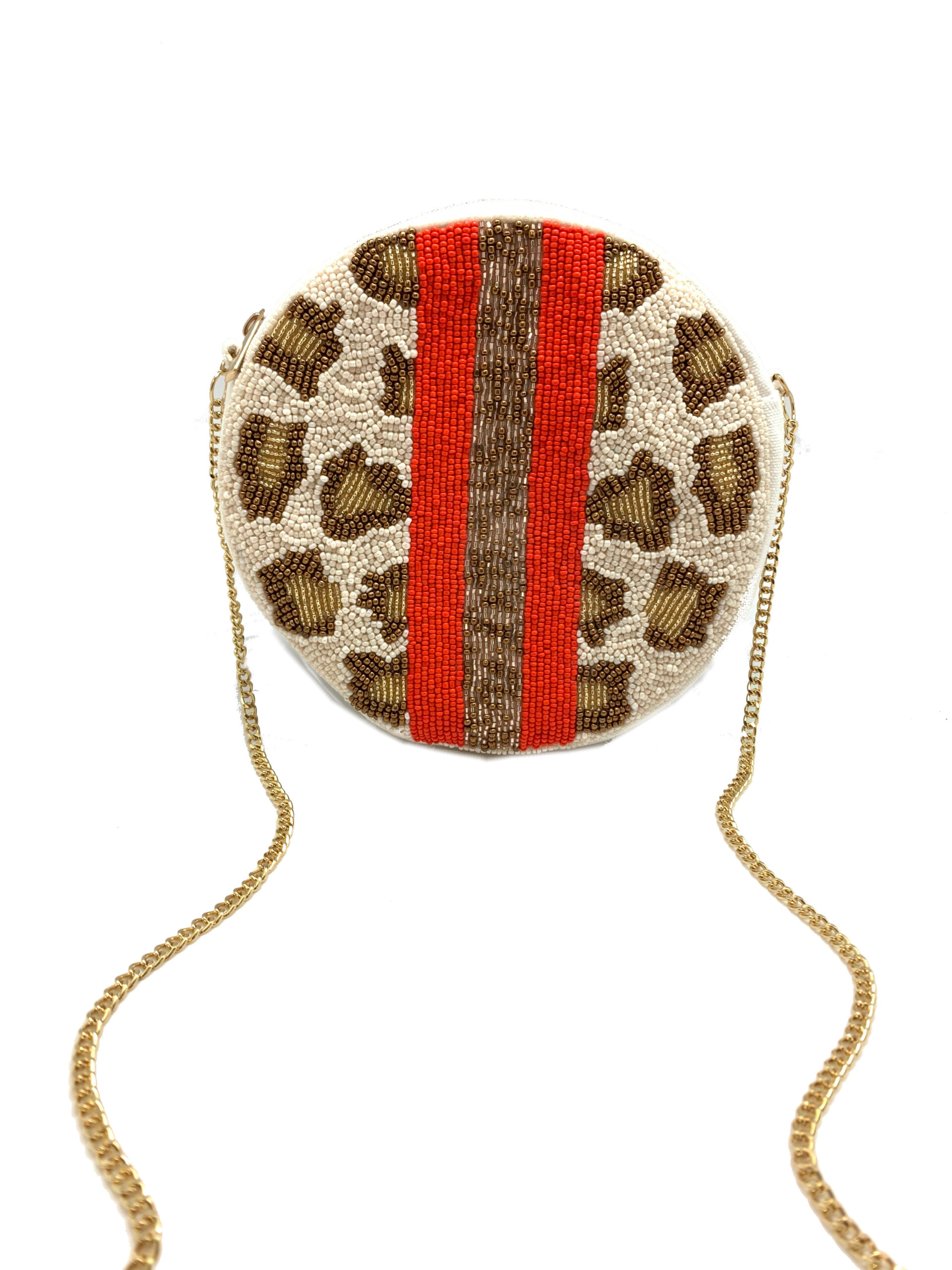 ROUND LEOPARD AND STRIPES BEADED BAG