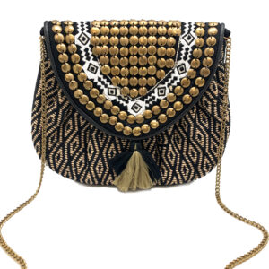 BLACK AND GOLD BOHO CLUTCH