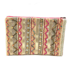 MULTI COLOR ZIG ZAG STRIPED CLUTCH