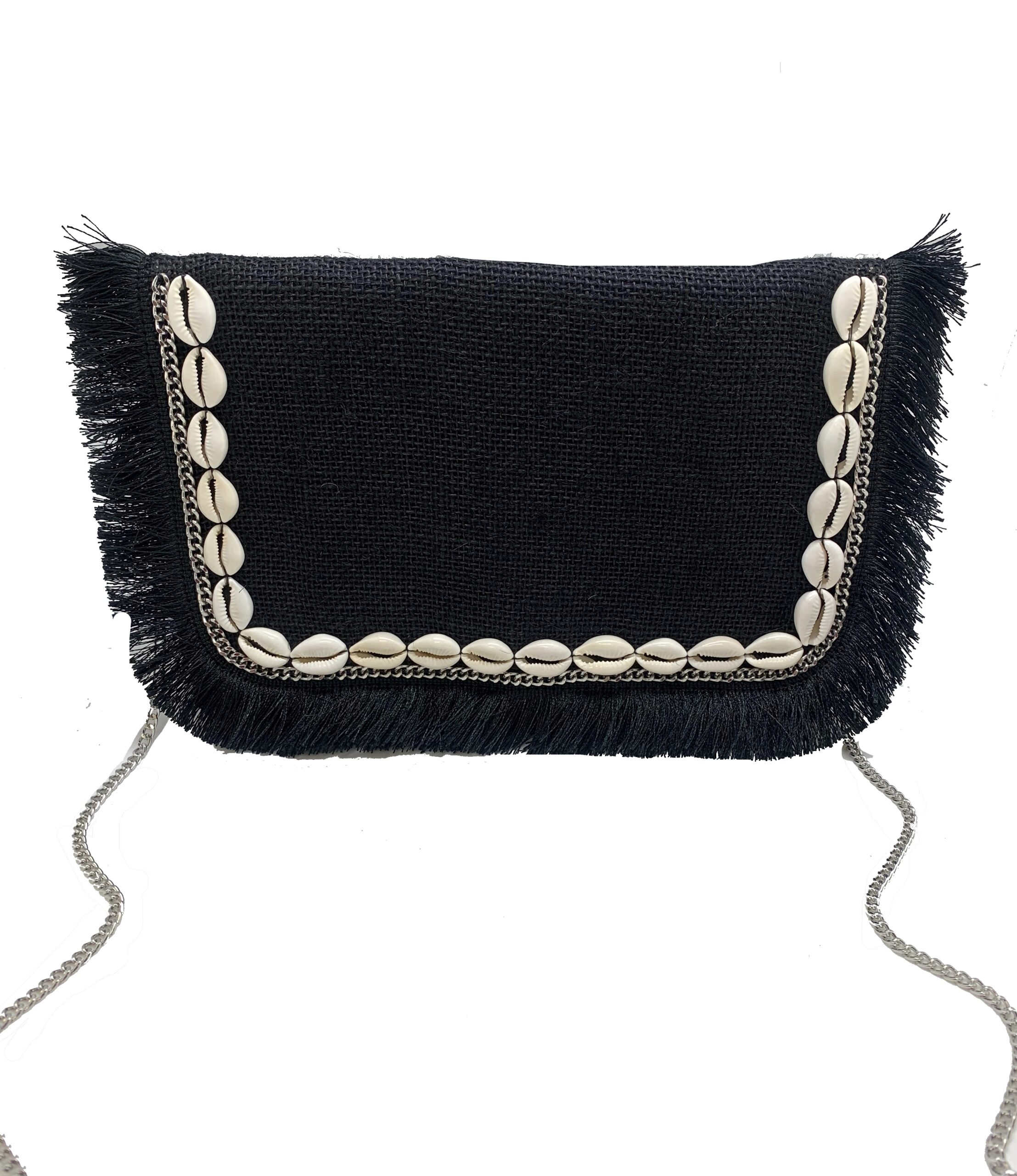 BLACK JUTE BAG WITH COWRIE SHELL AND FRINGE