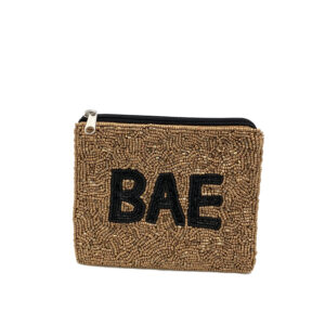 """BAE"" GOLD BEADED COIN PURSE"