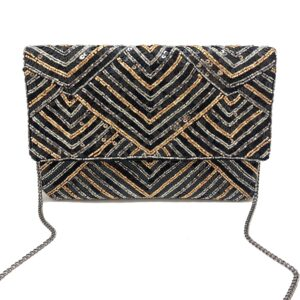 TRI COLOR BEADS AND SEQUINS CLUTCH