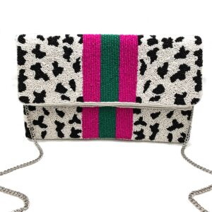 CHEETAH CLUTCH WITH FUCHSIA / GREEN STRIPES