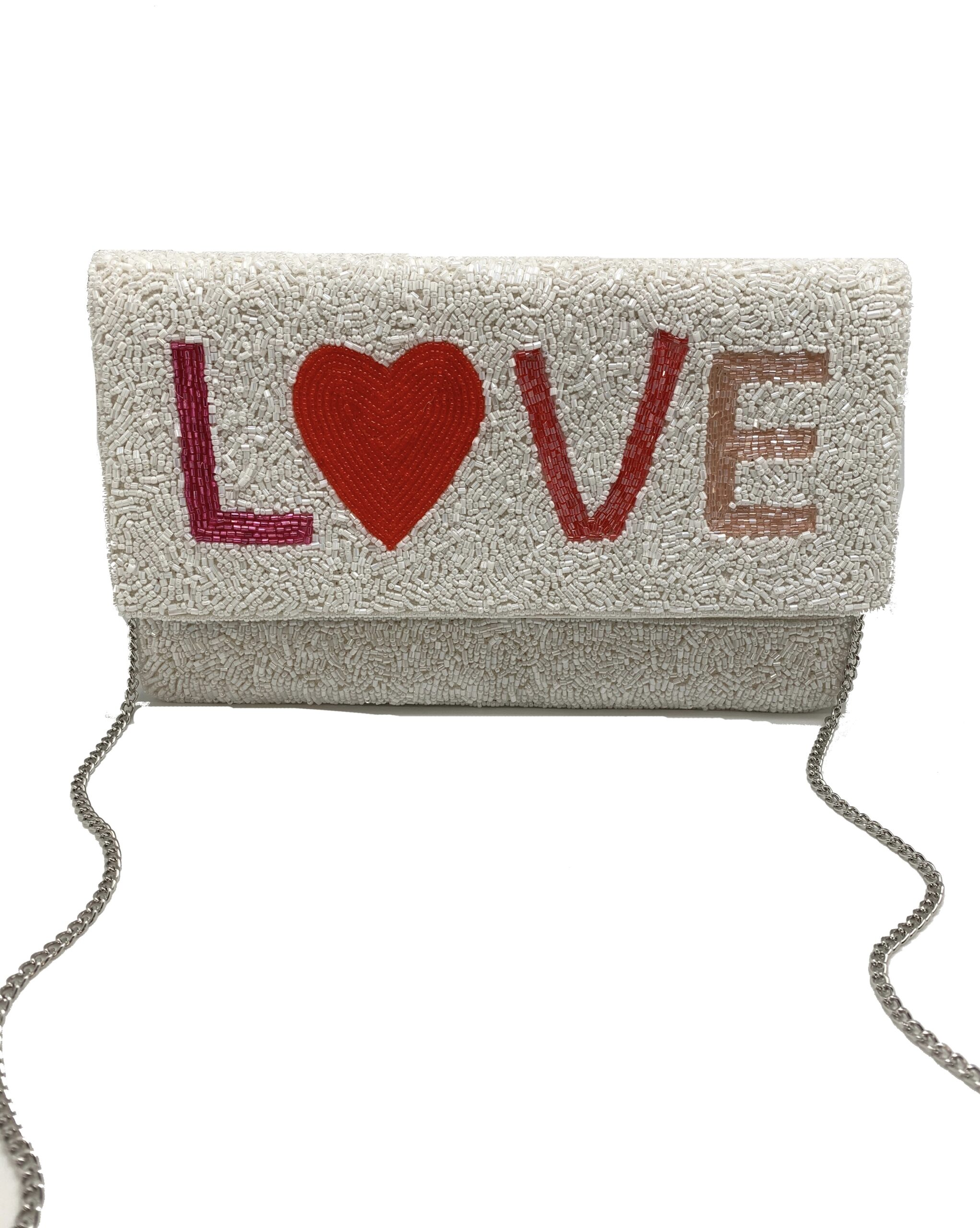 "PINK TONAL BEADED ""LOVE"" CLUTCH"