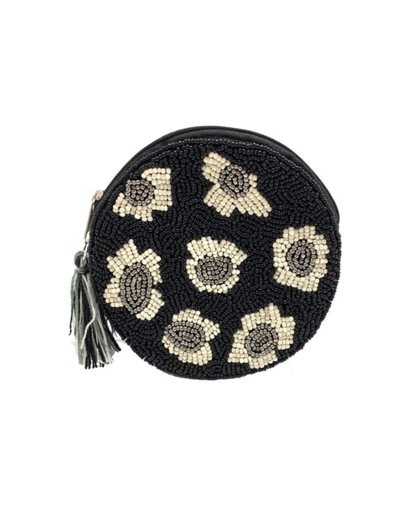 ROUND BLACK LEOPARD POUCH WITH TASSEL