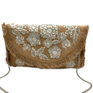 BURLAP CLUTCH WITH FRINGE