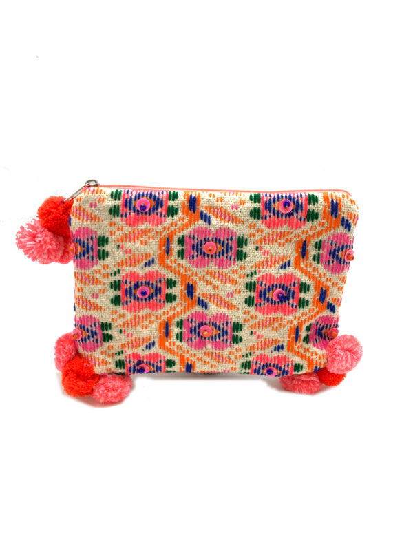 CANDY PINK JACQUARD POUCH WITH POM POMS