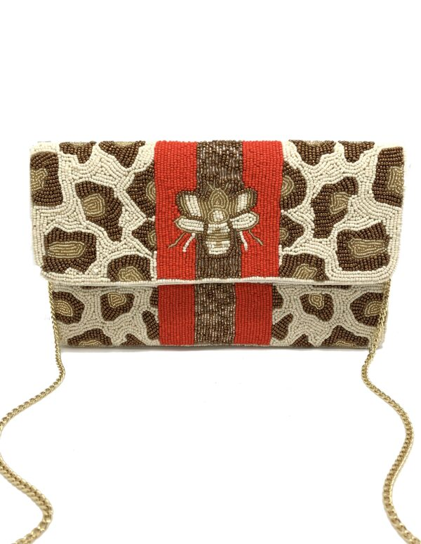 LEOPARD BEE CLUTCH WITH RED STRIPES