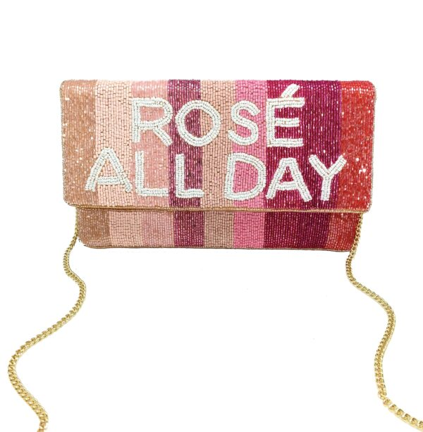 """ROSE' ALL DAY"" BEADED STRIPED CLUTCH"